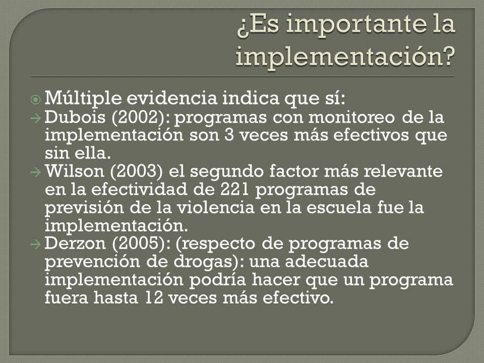 Durlak (2010): de un conjunto de reportes de intervenciones, menos de un 25% informa de relaciones entre implementación y resultados.