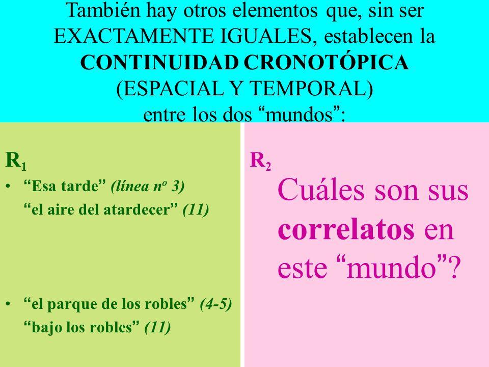 R 1 Esa tarde (línea n o 3) el aire del atardecer (11) el parque de los robles (4-5) bajo los robles (11) R2R2 Cuáles son sus correlatos en este mundo .