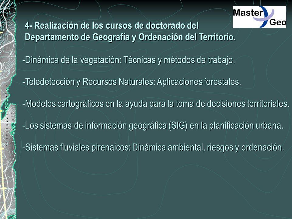 4- Realización de los cursos de doctorado del Departamento de Geografía y Ordenación del Territorio. -Dinámica de la vegetación: Técnicas y métodos de