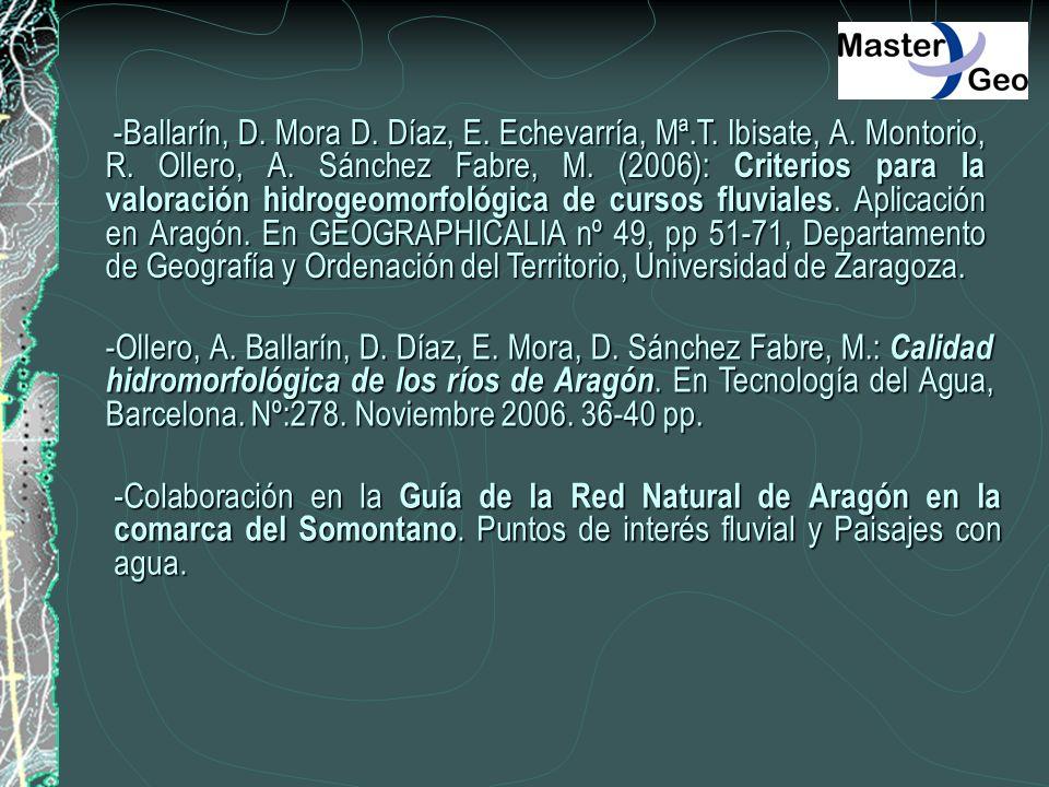 -Ballarín, D. Mora D. Díaz, E. Echevarría, Mª.T. Ibisate, A. Montorio, R. Ollero, A. Sánchez Fabre, M. (2006): Criterios para la valoración hidrogeomo