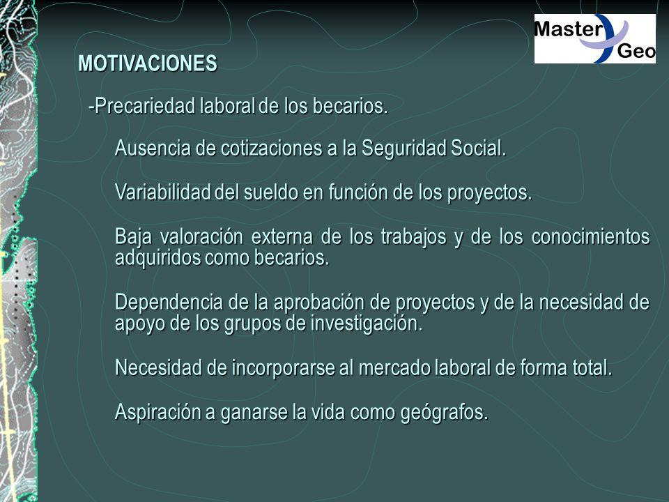 MOTIVACIONES -Precariedad laboral de los becarios. Ausencia de cotizaciones a la Seguridad Social. Variabilidad del sueldo en función de los proyectos