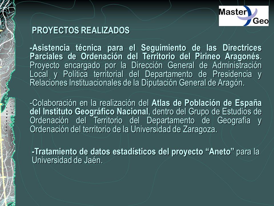 PROYECTOS REALIZADOS -Asistencia técnica para el Seguimiento de las Directrices Parciales de Ordenación del Territorio del Pirineo Aragonés. Proyecto