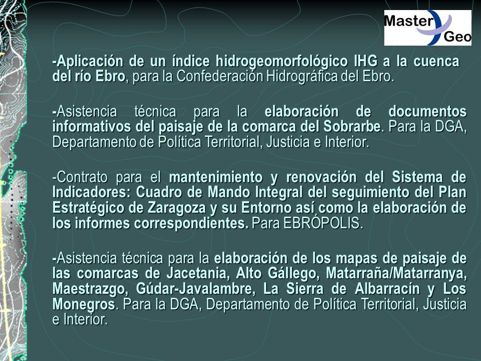 -Aplicación de un índice hidrogeomorfológico IHG a la cuenca del río Ebro, para la Confederación Hidrográfica del Ebro. - Asistencia técnica para la e