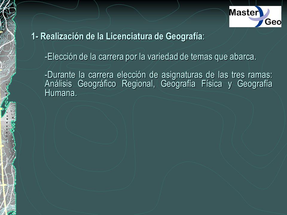 1- Realización de la Licenciatura de Geografía : -Elección de la carrera por la variedad de temas que abarca. -Durante la carrera elección de asignatu
