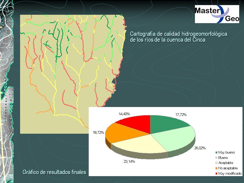 Gráfico de resultados finales Cartografía de calidad hidrogeomorfológica de los ríos de la cuenca del Cinca