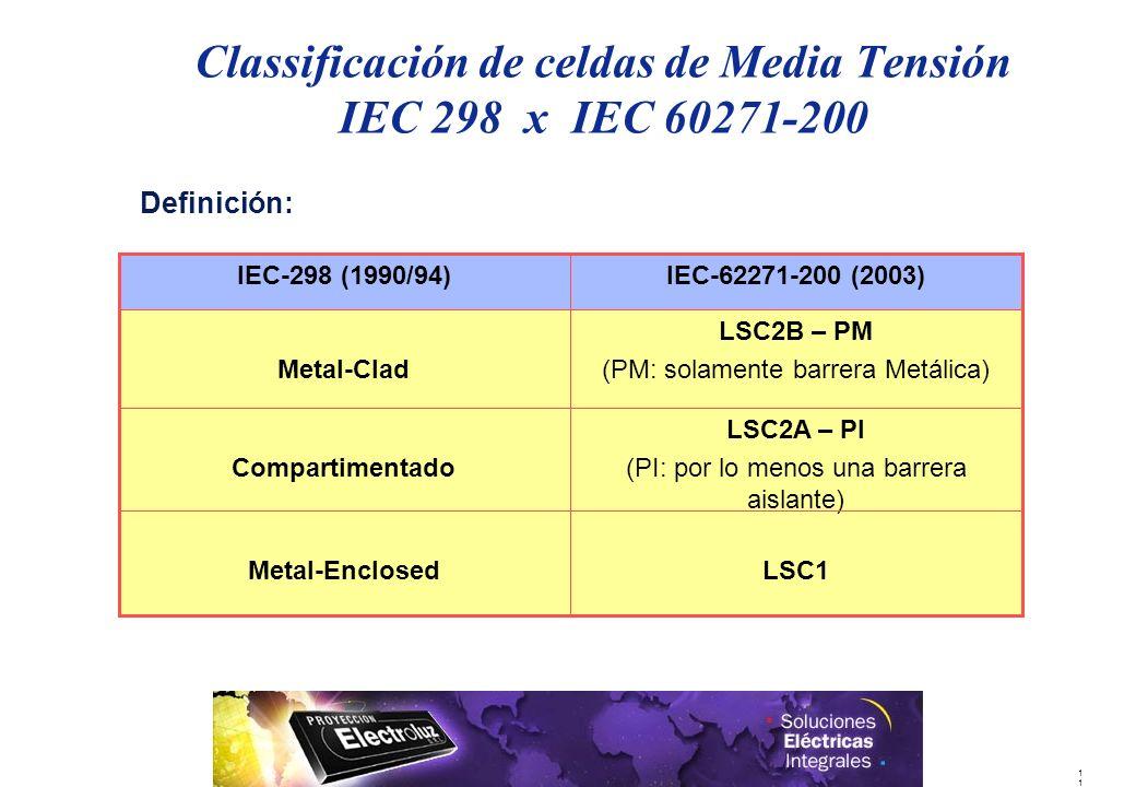 1 Definición: Classificación de celdas de Media Tensión IEC 298 x IEC 60271-200 LSC1Metal-Enclosed LSC2A – PI (PI: por lo menos una barrera aislante) Compartimentado LSC2B – PM (PM: solamente barrera Metálica)Metal-Clad IEC-62271-200 (2003)IEC-298 (1990/94)