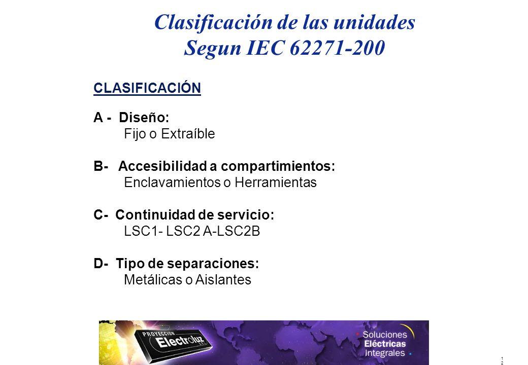 1212 Clasificación de las unidades Segun IEC 62271-200 CLASIFICACIÓN A - Diseño: Fijo o Extraíble B- Accesibilidad a compartimientos: Enclavamientos o Herramientas C- Continuidad de servicio: LSC1- LSC2 A-LSC2B D- Tipo de separaciones: Metálicas o Aislantes