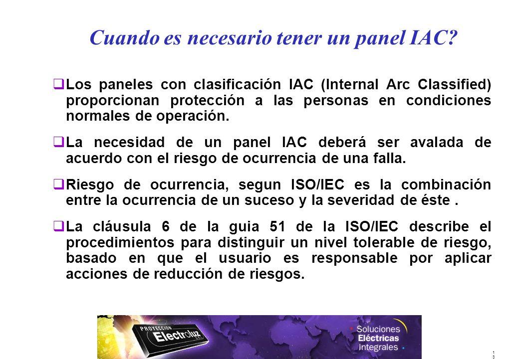 1313 qLos paneles con clasificación IAC (Internal Arc Classified) proporcionan protección a las personas en condiciones normales de operación. qLa nec