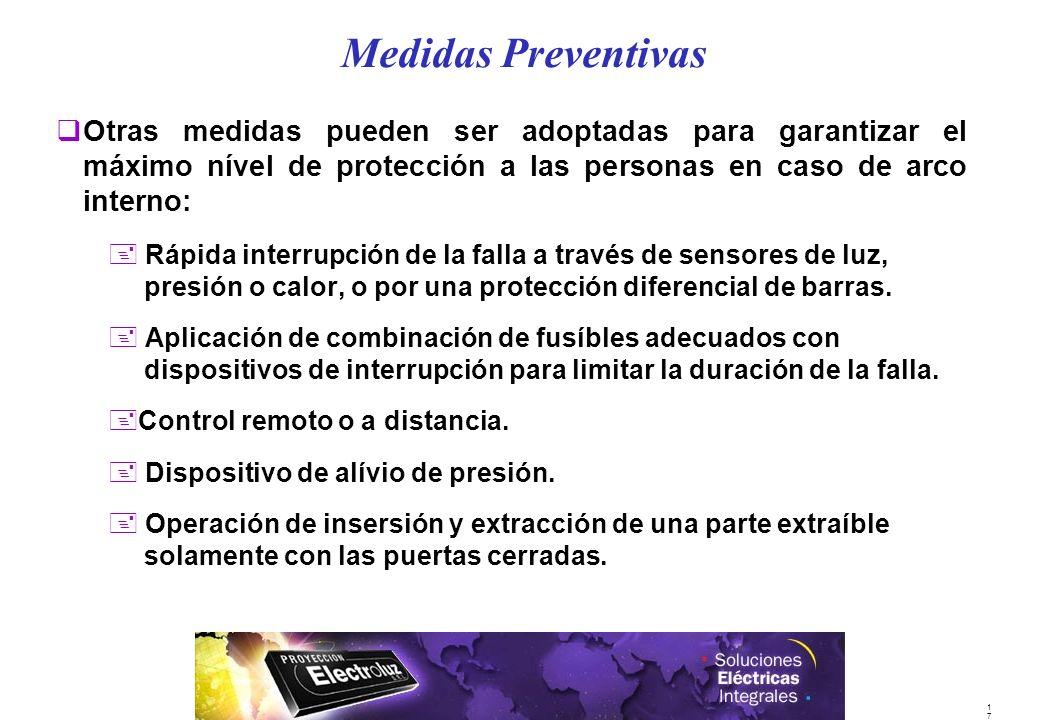 1717 qOtras medidas pueden ser adoptadas para garantizar el máximo nível de protección a las personas en caso de arco interno: + Rápida interrupción d