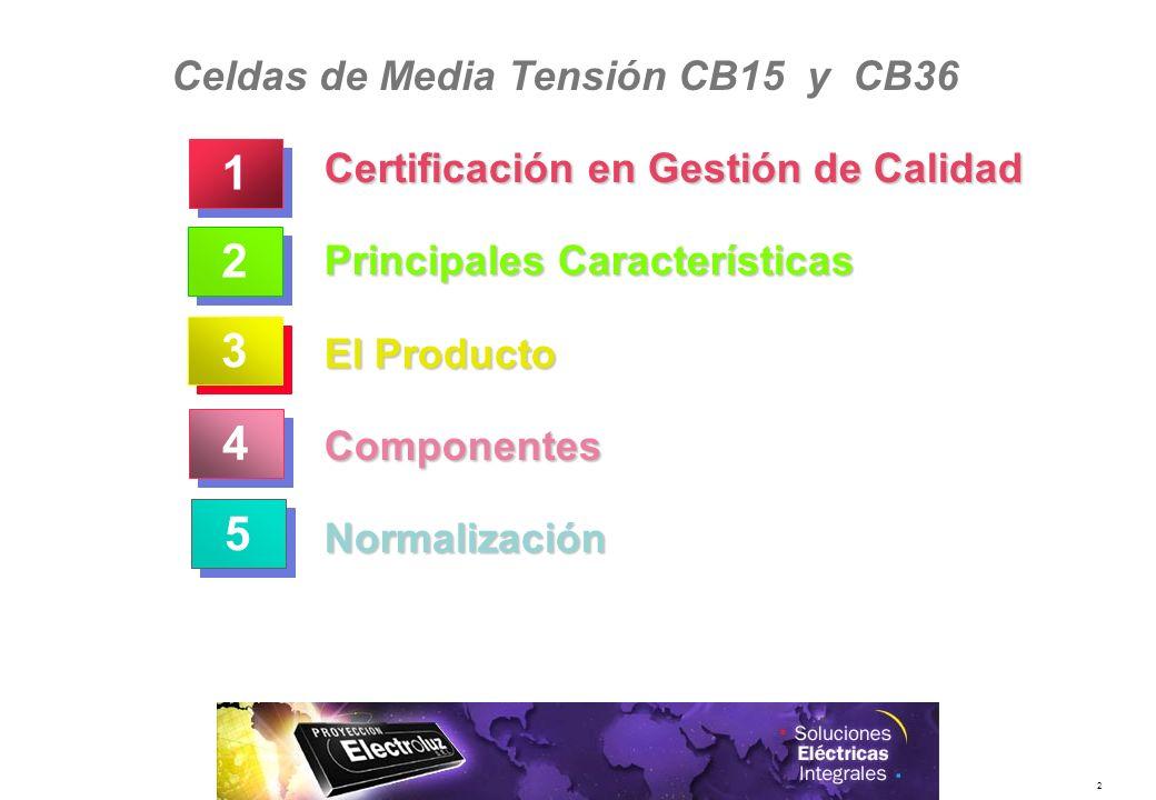 2 Certificación en Gestión de Calidad Principales Características El Producto ComponentesNormalización 3 3 2 2 5 5 4 4 1 1 Celdas de Media Tensión CB1