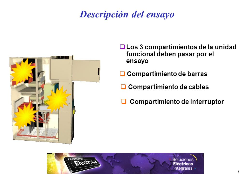 2121 qLos 3 compartimientos de la unidad funcional deben pasar por el ensayo qCompartimiento de barras q Compartimiento de cables q Compartimiento de