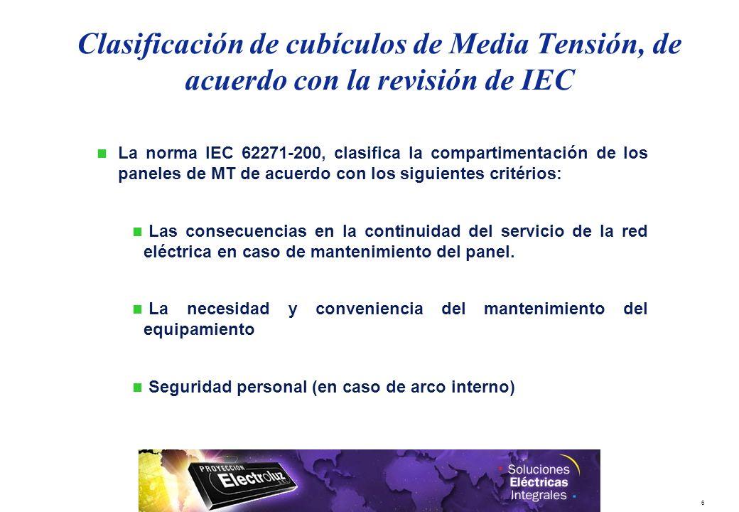 6 La norma IEC 62271-200, clasifica la compartimentación de los paneles de MT de acuerdo con los siguientes critérios: Las consecuencias en la continu