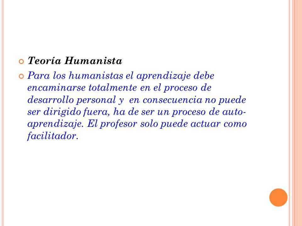 Teoría Humanista Para los humanistas el aprendizaje debe encaminarse totalmente en el proceso de desarrollo personal y en consecuencia no puede ser di