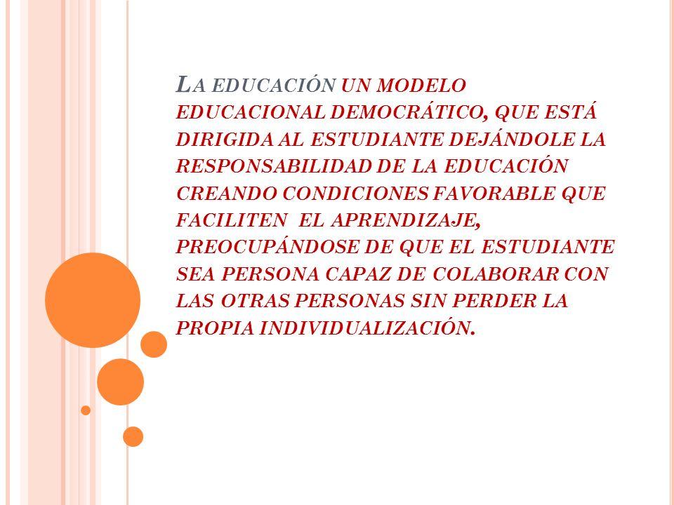 L A EDUCACIÓN UN MODELO EDUCACIONAL DEMOCRÁTICO, QUE ESTÁ DIRIGIDA AL ESTUDIANTE DEJÁNDOLE LA RESPONSABILIDAD DE LA EDUCACIÓN CREANDO CONDICIONES FAVORABLE QUE FACILITEN EL APRENDIZAJE, PREOCUPÁNDOSE DE QUE EL ESTUDIANTE SEA PERSONA CAPAZ DE COLABORAR CON LAS OTRAS PERSONAS SIN PERDER LA PROPIA INDIVIDUALIZACIÓN.
