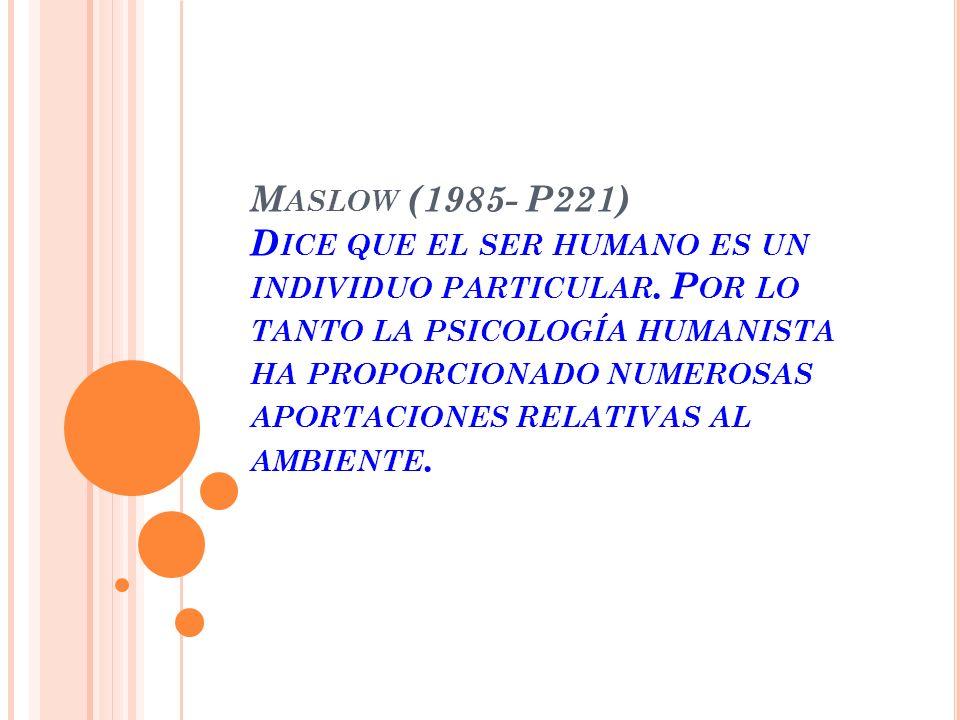 M ASLOW (1985- P221) D ICE QUE EL SER HUMANO ES UN INDIVIDUO PARTICULAR.