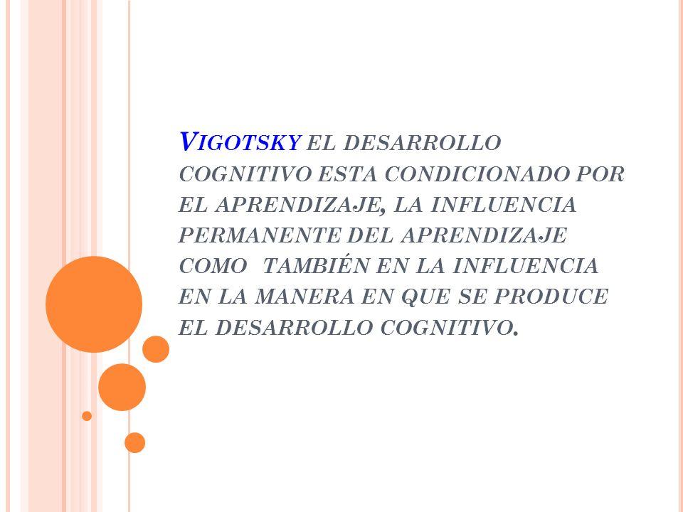 V IGOTSKY EL DESARROLLO COGNITIVO ESTA CONDICIONADO POR EL APRENDIZAJE, LA INFLUENCIA PERMANENTE DEL APRENDIZAJE COMO TAMBIÉN EN LA INFLUENCIA EN LA MANERA EN QUE SE PRODUCE EL DESARROLLO COGNITIVO.