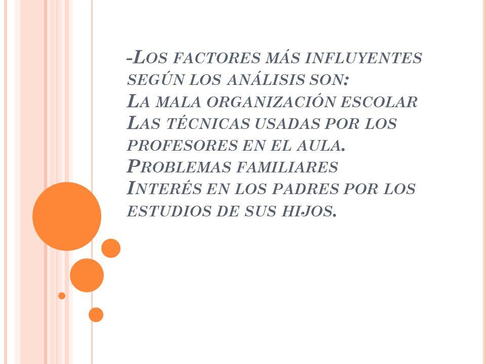 -L OS FACTORES MÁS INFLUYENTES SEGÚN LOS ANÁLISIS SON : L A MALA ORGANIZACIÓN ESCOLAR L AS TÉCNICAS USADAS POR LOS PROFESORES EN EL AULA. P ROBLEMAS F