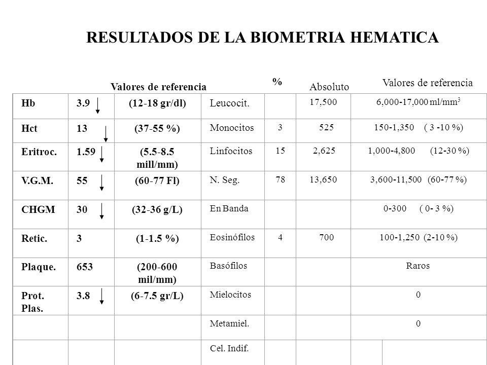 Hb3.9(12-18 gr/dl)Leucocit. 17,5006,000-17,000 ml/mm 3 Hct13(37-55 %) Monocitos 3 525150-1,350 ( 3 -10 %) Eritroc.1.59(5.5-8.5 mill/mm) Linfocitos 15