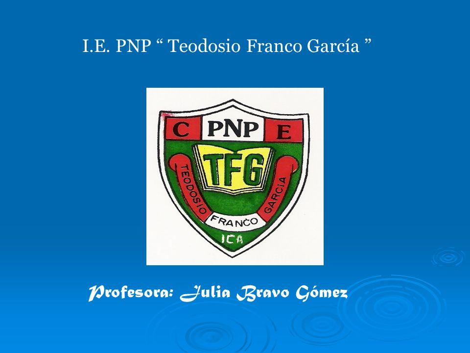 I.E. PNP Teodosio Franco García Profesora: Julia Bravo Gómez