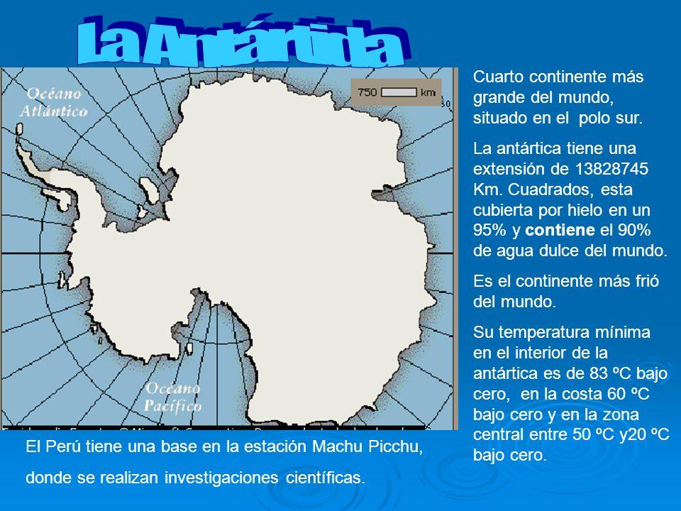 Cuarto continente más grande del mundo, situado en el polo sur. La antártica tiene una extensión de 13828745 Km. Cuadrados, esta cubierta por hielo en