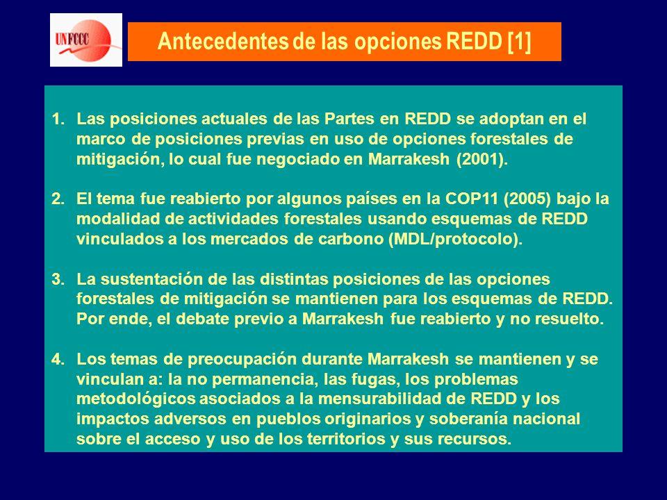 Antecedentes de las opciones REDD [1] 1.Las posiciones actuales de las Partes en REDD se adoptan en el marco de posiciones previas en uso de opciones