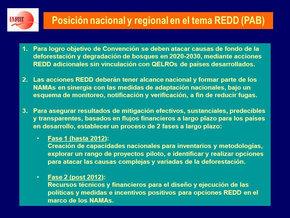 Posición nacional y regional en el tema REDD (PAB) 1.Para logro objetivo de Convención se deben atacar causas de fondo de la deforestación y degradaci