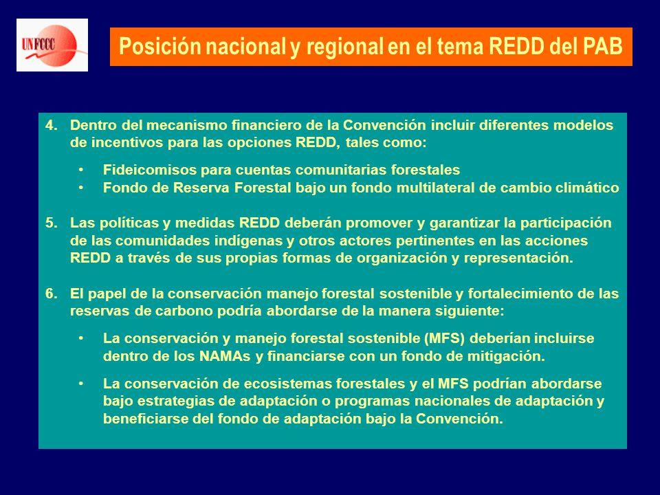 Posición nacional y regional en el tema REDD del PAB 4.Dentro del mecanismo financiero de la Convención incluir diferentes modelos de incentivos para