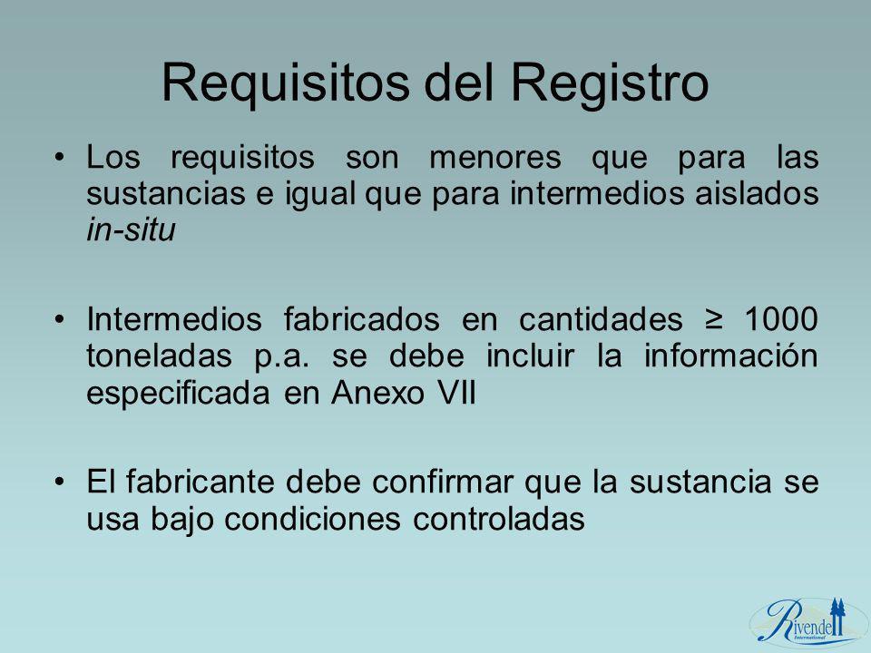 Requisitos del Registro Los requisitos son menores que para las sustancias e igual que para intermedios aislados in-situ Intermedios fabricados en can
