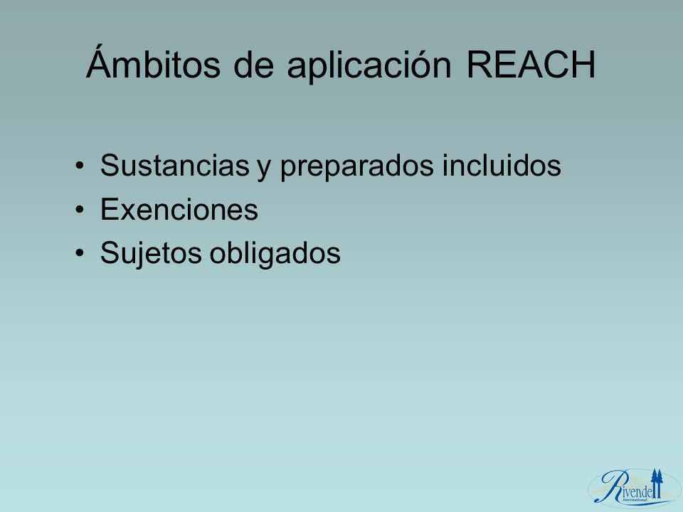 Ámbitos de aplicación REACH Sustancias y preparados incluidos Exenciones Sujetos obligados