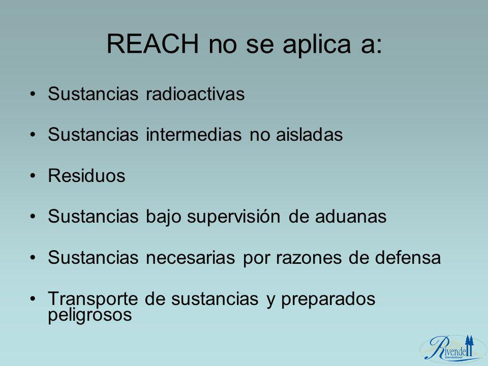 REACH no se aplica a: Sustancias radioactivas Sustancias intermedias no aisladas Residuos Sustancias bajo supervisión de aduanas Sustancias necesarias