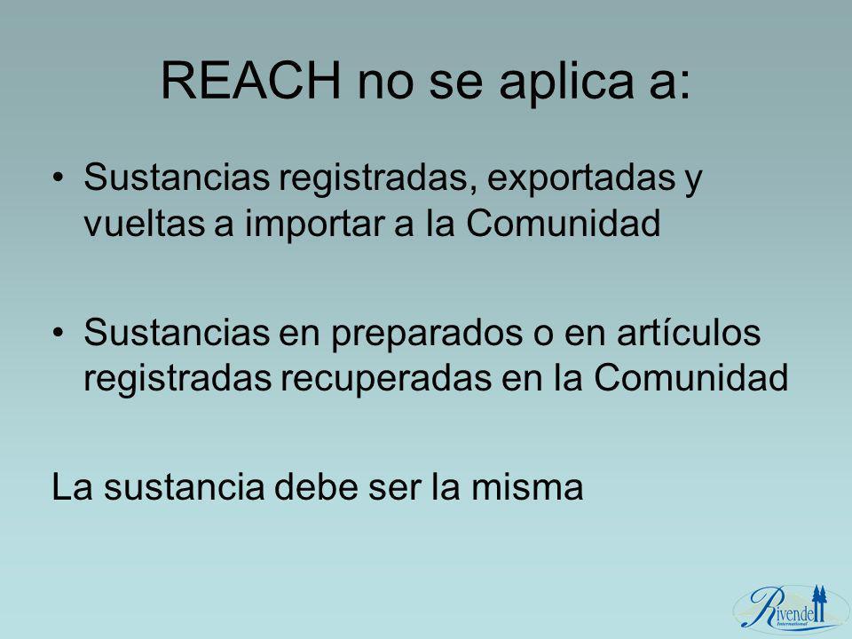 REACH no se aplica a: Sustancias registradas, exportadas y vueltas a importar a la Comunidad Sustancias en preparados o en artículos registradas recup