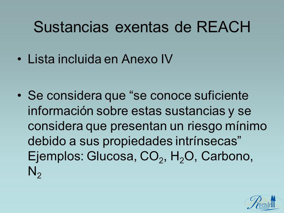 Sustancias exentas de REACH Lista incluida en Anexo IV Se considera que se conoce suficiente información sobre estas sustancias y se considera que pre