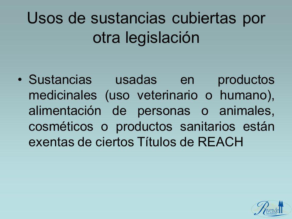 Usos de sustancias cubiertas por otra legislación Sustancias usadas en productos medicinales (uso veterinario o humano), alimentación de personas o an
