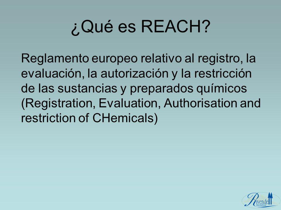 ¿Qué es REACH? Reglamento europeo relativo al registro, la evaluación, la autorización y la restricción de las sustancias y preparados químicos (Regis