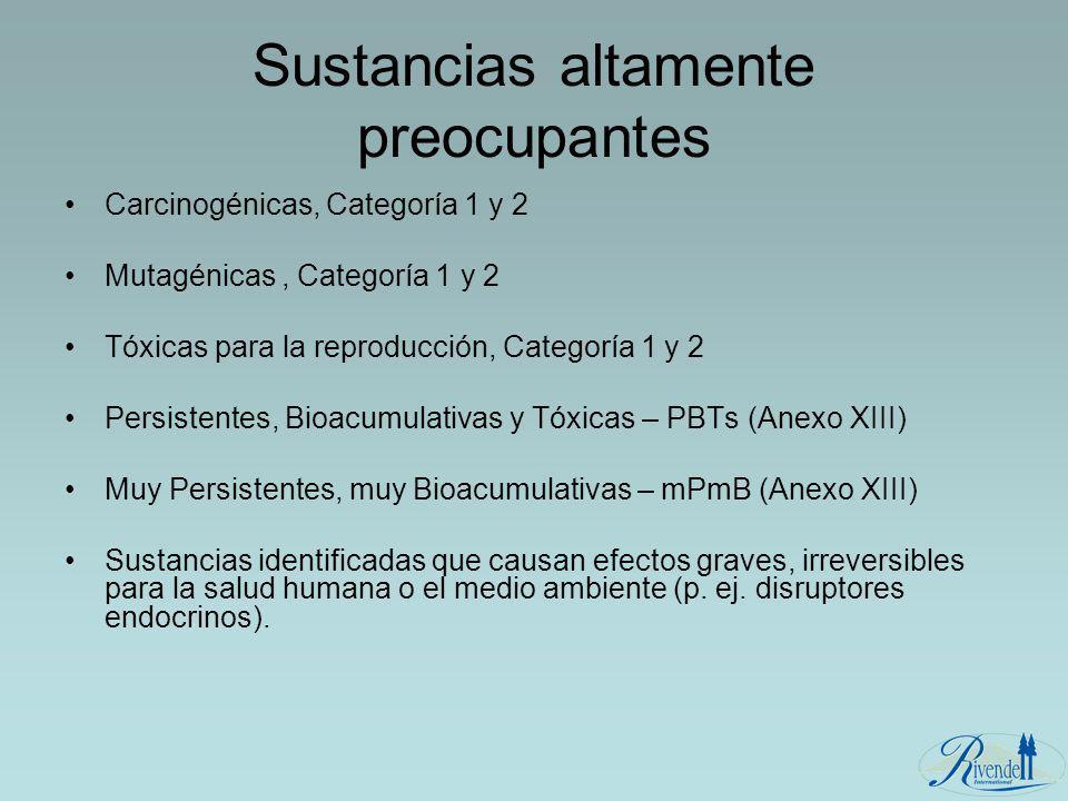 Sustancias altamente preocupantes Carcinogénicas, Categoría 1 y 2 Mutagénicas, Categoría 1 y 2 Tóxicas para la reproducción, Categoría 1 y 2 Persisten