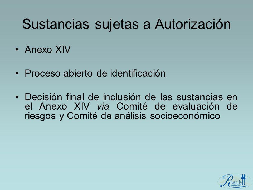 Sustancias sujetas a Autorización Anexo XIV Proceso abierto de identificación Decisión final de inclusión de las sustancias en el Anexo XIV via Comité