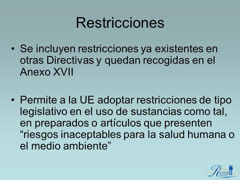 Se incluyen restricciones ya existentes en otras Directivas y quedan recogidas en el Anexo XVII Permite a la UE adoptar restricciones de tipo legislat