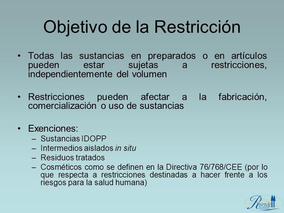 Objetivo de la Restricción Todas las sustancias en preparados o en artículos pueden estar sujetas a restricciones, independientemente del volumen Rest