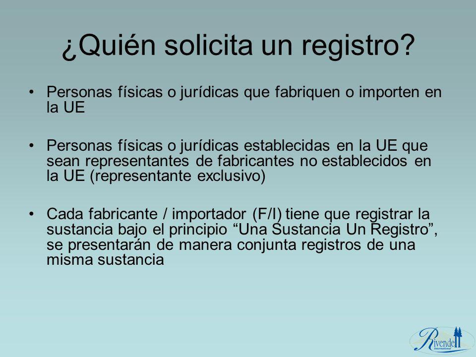 ¿Quién solicita un registro? Personas físicas o jurídicas que fabriquen o importen en la UE Personas físicas o jurídicas establecidas en la UE que sea
