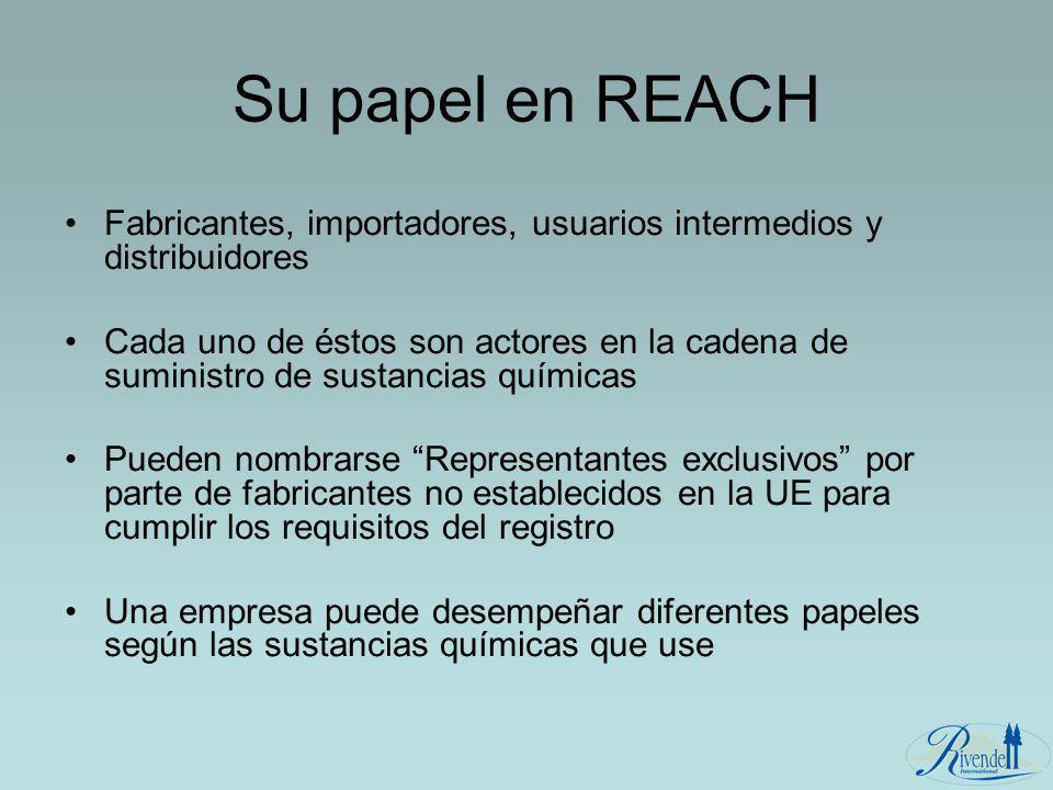 Su papel en REACH Fabricantes, importadores, usuarios intermedios y distribuidores Cada uno de éstos son actores en la cadena de suministro de sustanc