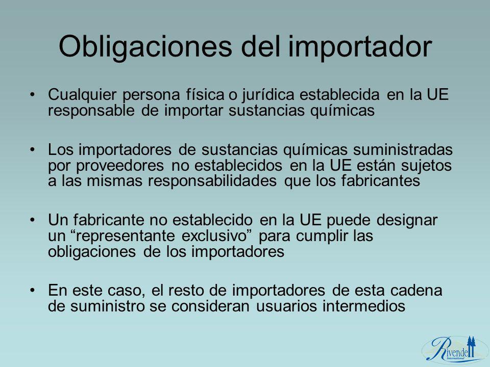 Obligaciones del importador Cualquier persona física o jurídica establecida en la UE responsable de importar sustancias químicas Los importadores de s