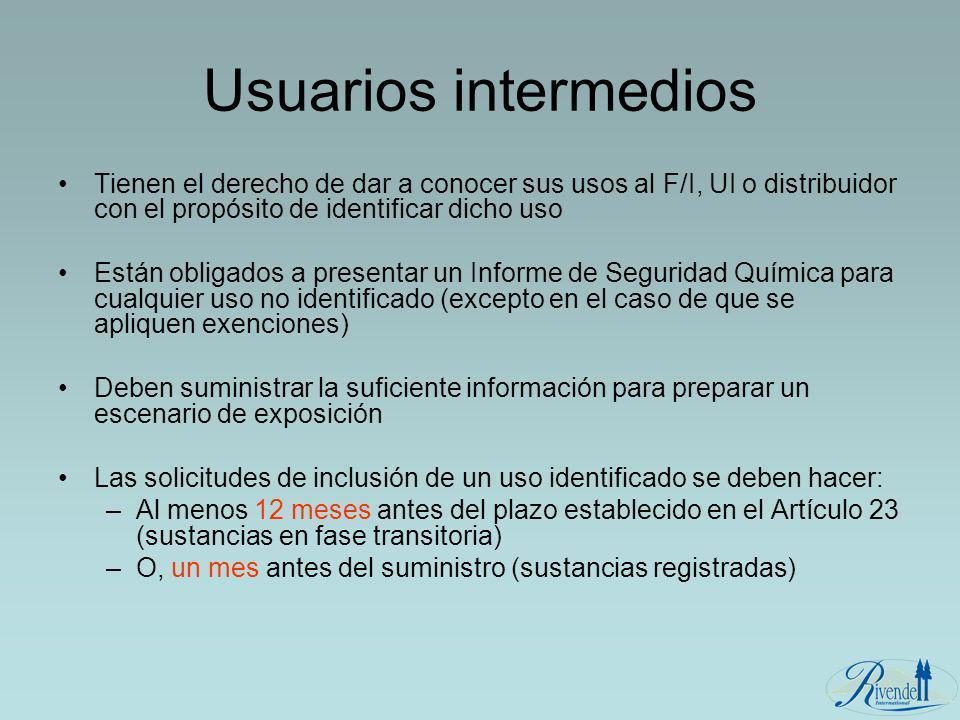 Usuarios intermedios Tienen el derecho de dar a conocer sus usos al F/I, UI o distribuidor con el propósito de identificar dicho uso Están obligados a