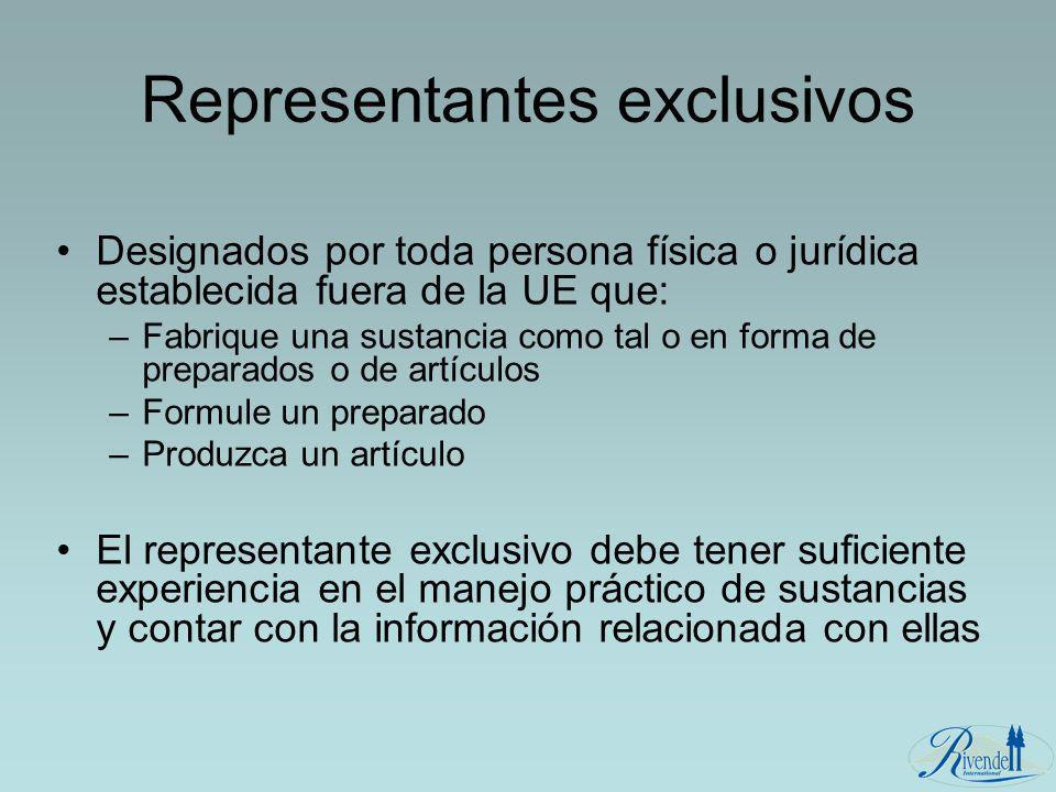 Representantes exclusivos Designados por toda persona física o jurídica establecida fuera de la UE que: –Fabrique una sustancia como tal o en forma de