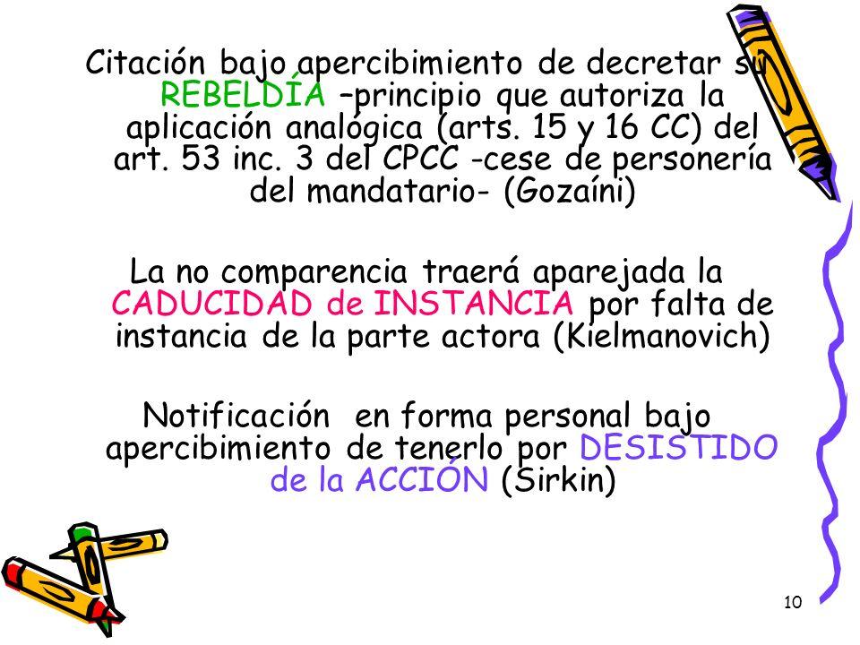 10 Citación bajo apercibimiento de decretar su REBELDÍA –principio que autoriza la aplicación analógica (arts. 15 y 16 CC) del art. 53 inc. 3 del CPCC