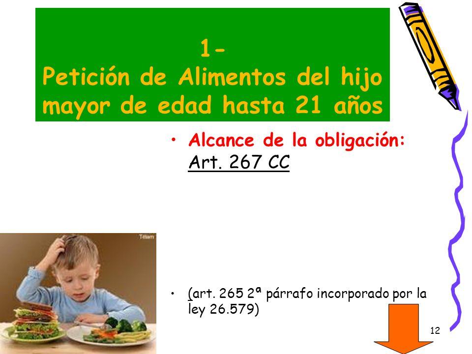 12 1- Petición de Alimentos del hijo mayor de edad hasta 21 años Alcance de la obligación: Art. 267 CC (art. 265 2ª párrafo incorporado por la ley 26.