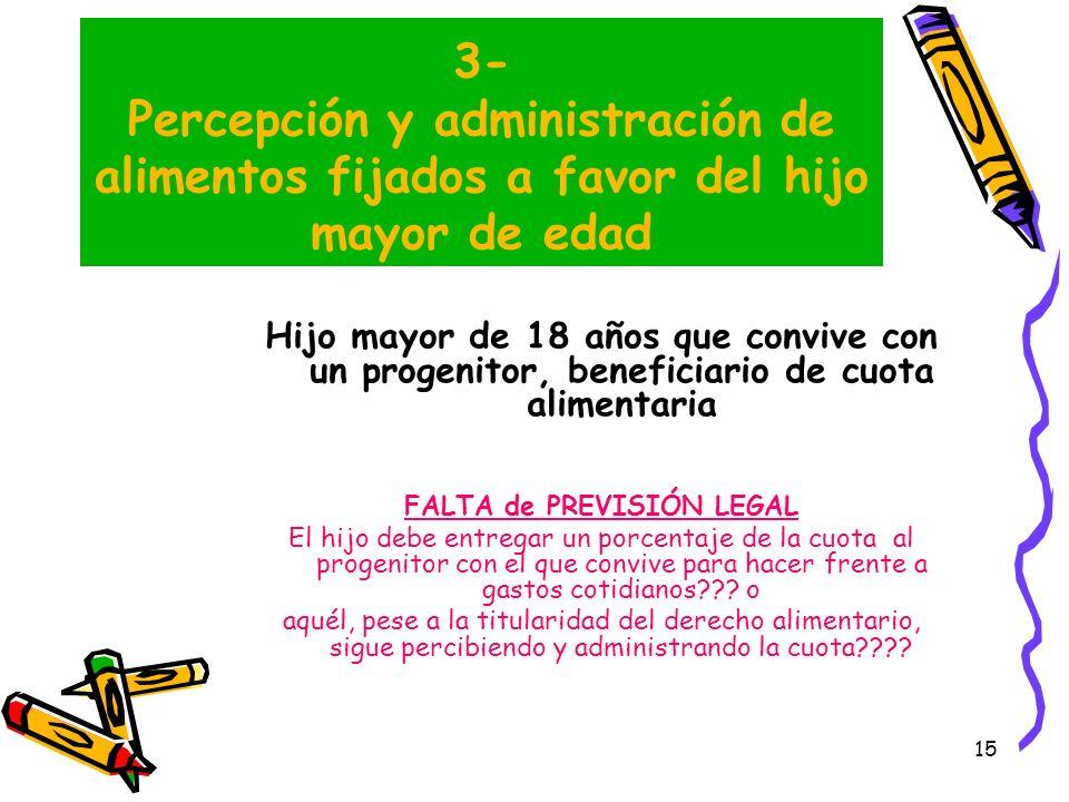 15 3- Percepción y administración de alimentos fijados a favor del hijo mayor de edad Hijo mayor de 18 años que convive con un progenitor, beneficiari