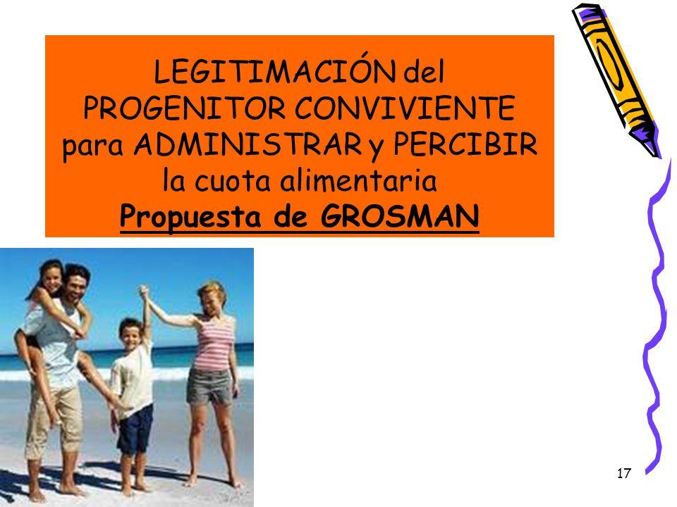 17 LEGITIMACIÓN del PROGENITOR CONVIVIENTE para ADMINISTRAR y PERCIBIR la cuota alimentaria Propuesta de GROSMAN