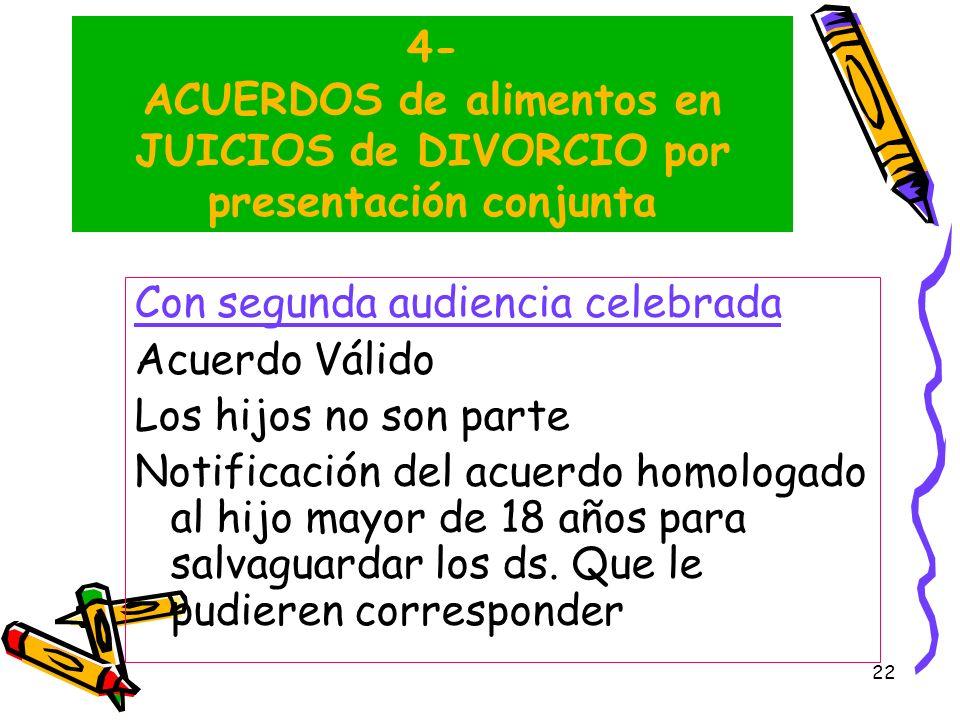 22 4- ACUERDOS de alimentos en JUICIOS de DIVORCIO por presentación conjunta Con segunda audiencia celebrada Acuerdo Válido Los hijos no son parte Not