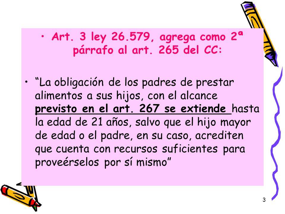 3 Art. 3 ley 26.579, agrega como 2ª párrafo al art. 265 del CC: La obligación de los padres de prestar alimentos a sus hijos, con el alcance previsto