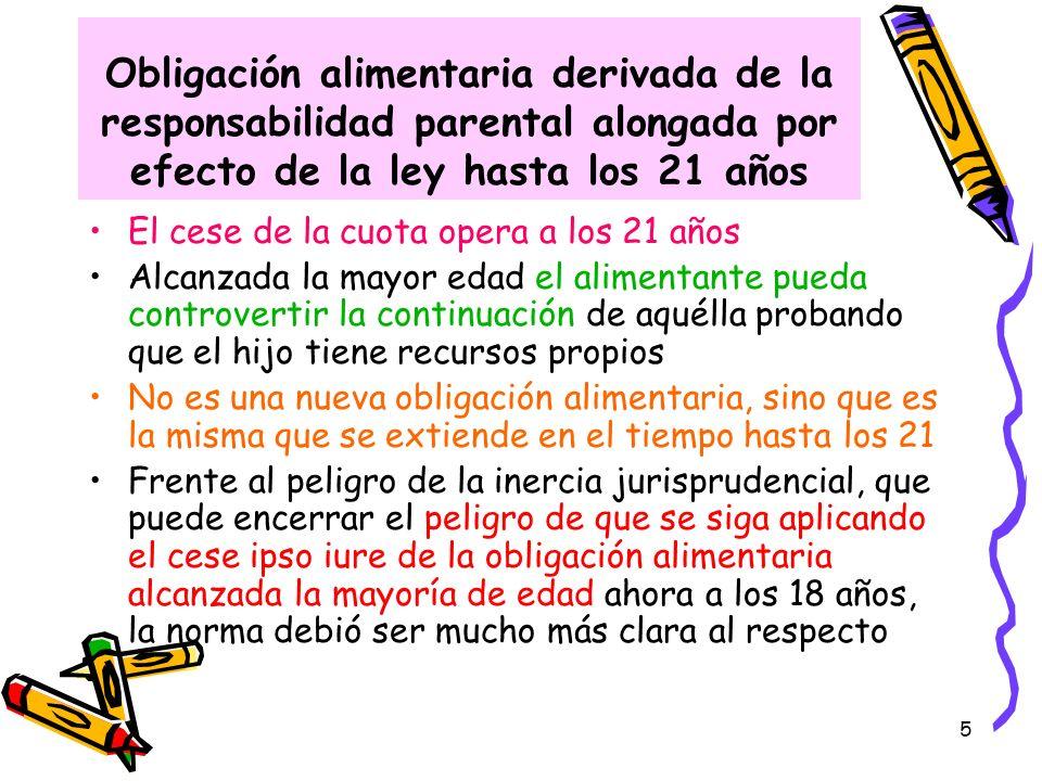 5 Obligación alimentaria derivada de la responsabilidad parental alongada por efecto de la ley hasta los 21 años El cese de la cuota opera a los 21 añ